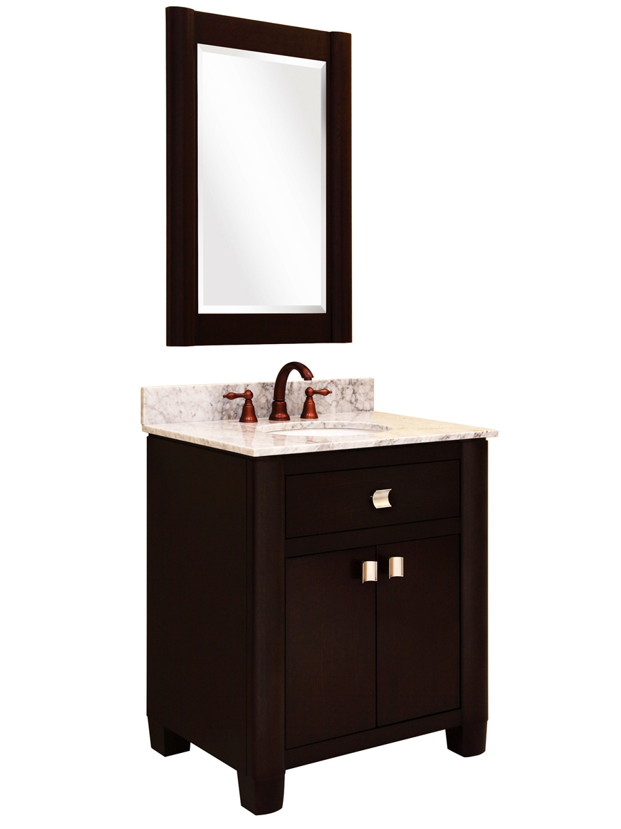 "30"" Portafino Single Vanity - with optional mirror and Carrera White marble top"