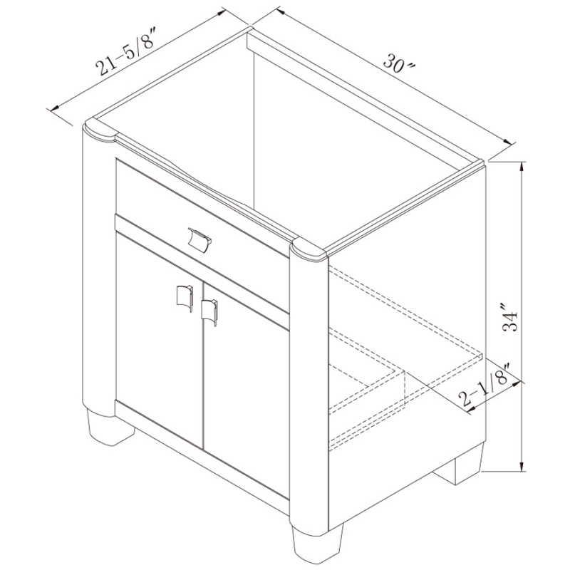 "30"" Portafino Single Vanity - Dimensions"