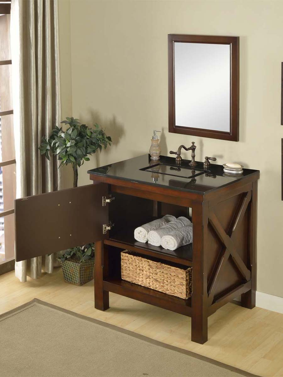 "32"" Liverpool Single Vanity - with Black Granite top"