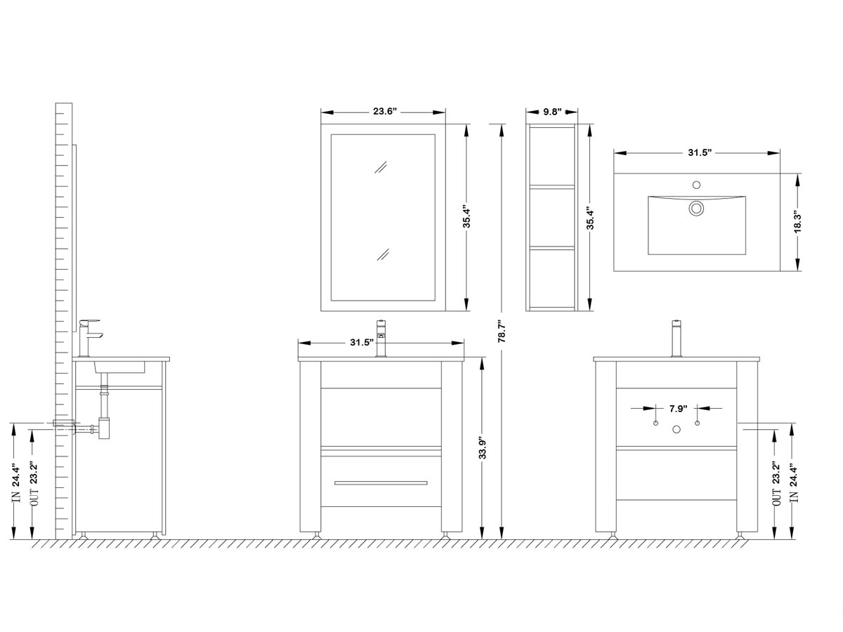 "31.5"" Masselin Single Vanity - Dimensions"