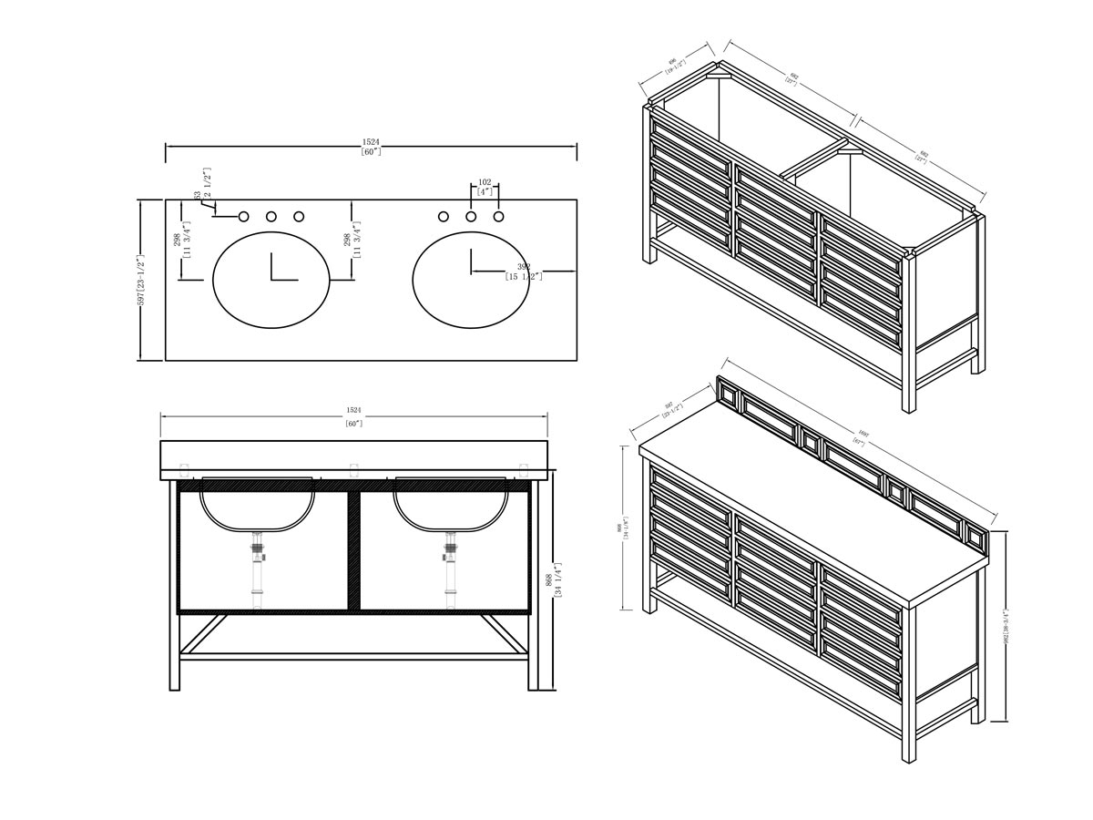 "60"" Tacoma Double Sink Vanity - Dimensions"