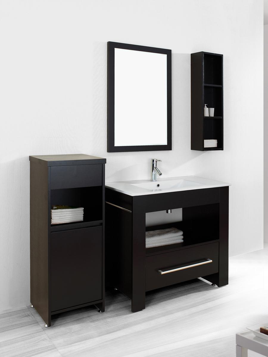 "35.5"" Osimo Single Bath Vanity - Shown with wall shelf and mirror"