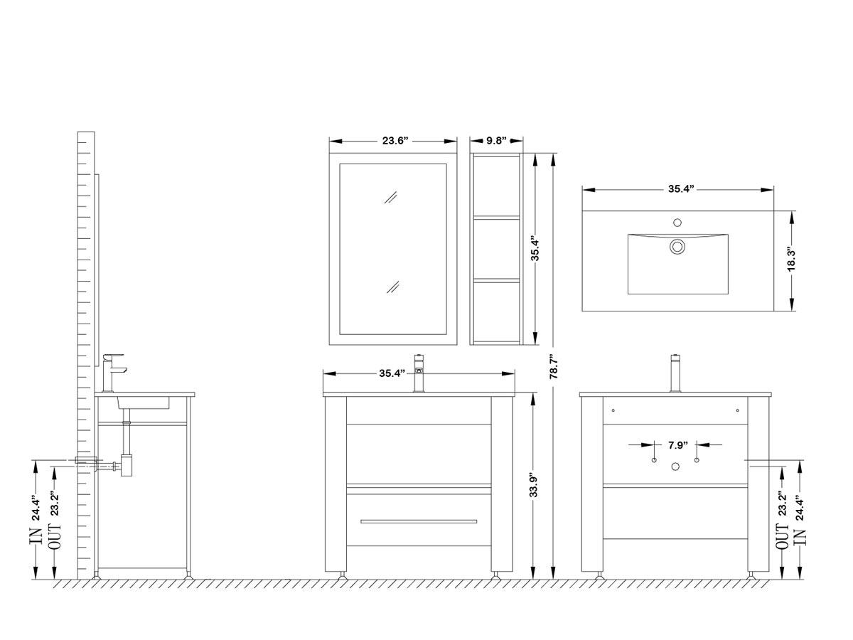 "35.5"" Osimo Single Bath Vanity - Dimensions"