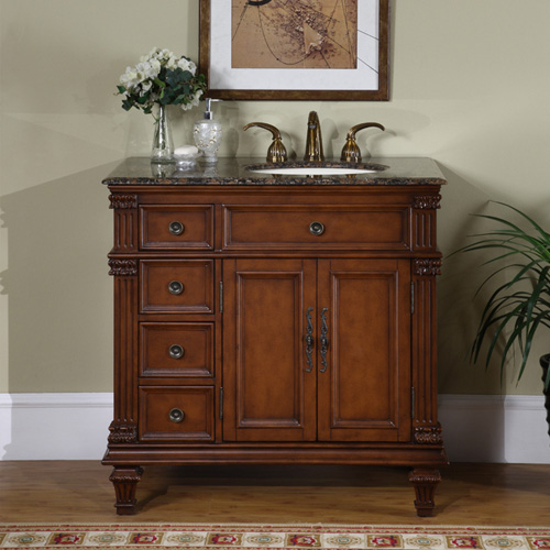 "36"" Saranda Bathroom Vanity - with Right-Sided Sink and Baltic Brown Granite Top"