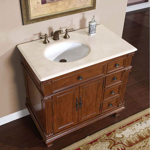 "36"" Saranda Bathroom Vanity - with Left-Sided Sink and Cream Marfil Marble Top"