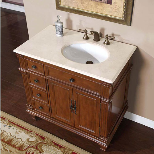 "36"" Saranda Bathroom Vanity - with Right-Sided Sink and Cream Marfil Marble Top"