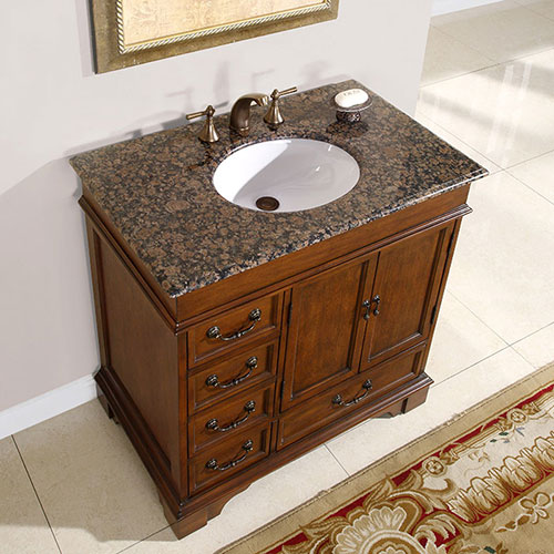 "36"" Hermoso Bathroom Vanity - with Baltic Brown Granite Top"