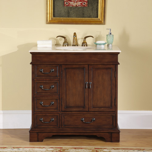 "36"" Hermoso Bathroom Vanity - with Cream Marfil Marble Top"