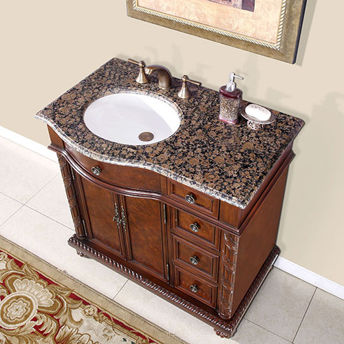 Left-Sided Sink - with Baltic Brown Granite Top