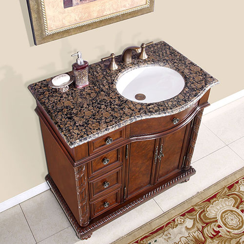Right-Sided Sink - with Baltic Brown Granite Top