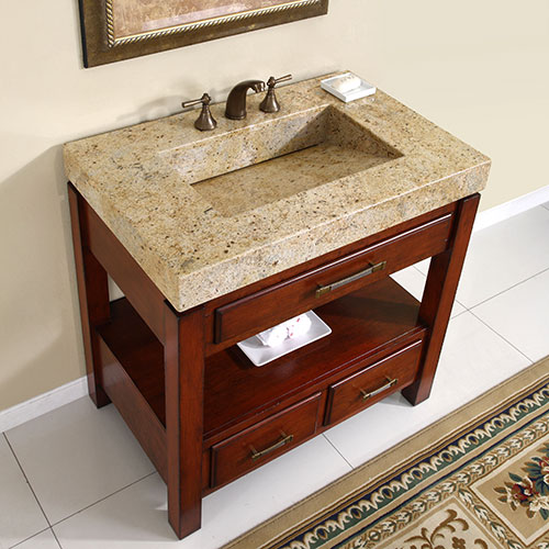 Kashmir Gold Granite top with integrated sink