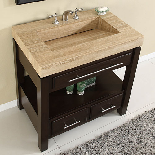 "56"" Aguila Single Bath Vanity - with Travertine Top"