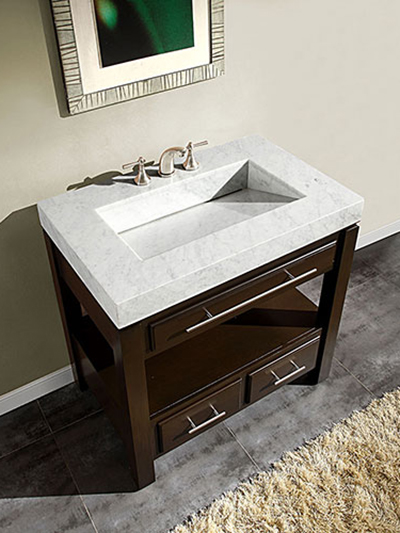 "56"" Aguila Single Bath Vanity - with White Marble Top"