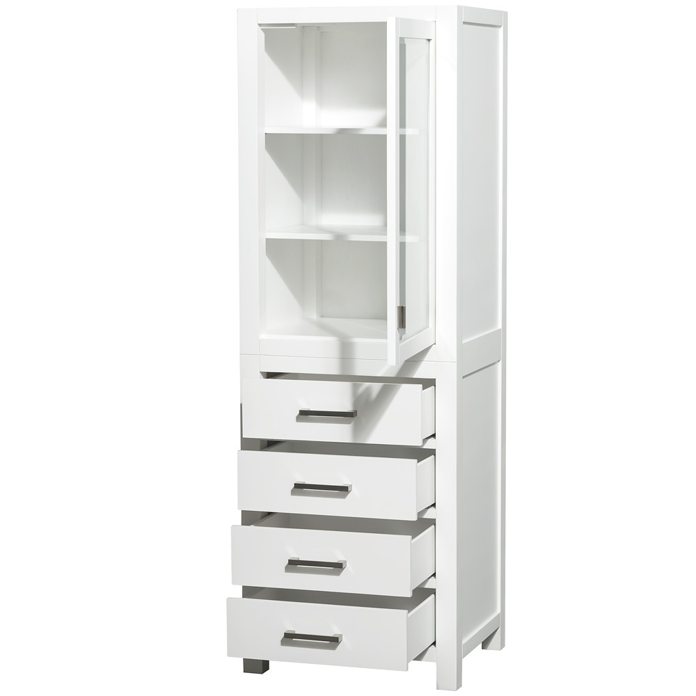 Optional Linen Cabinet Has Single Cabinet and Four Functional Drawers