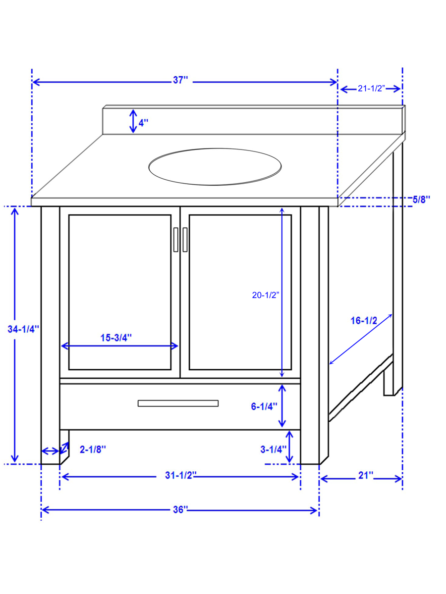 "37"" Sheffield Single Bath Vanity - Dimensions"