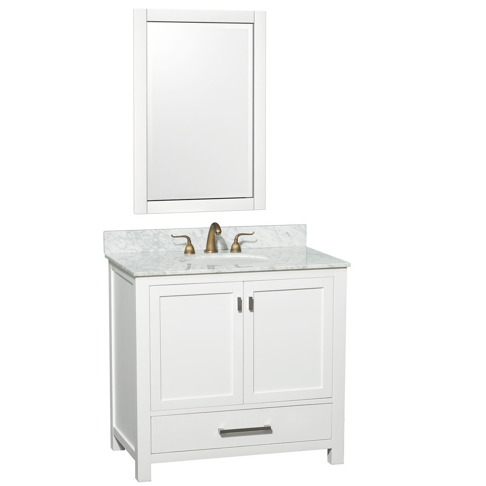 Shown with White Carrera Marble Top and Mirror