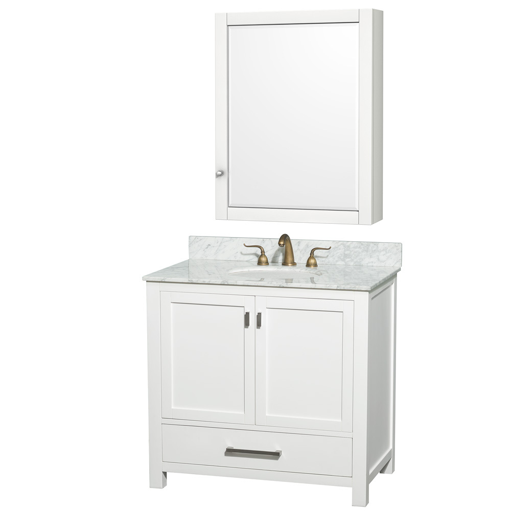 Shown with White Carrera Marble Top and Optional Medicine Cabinet
