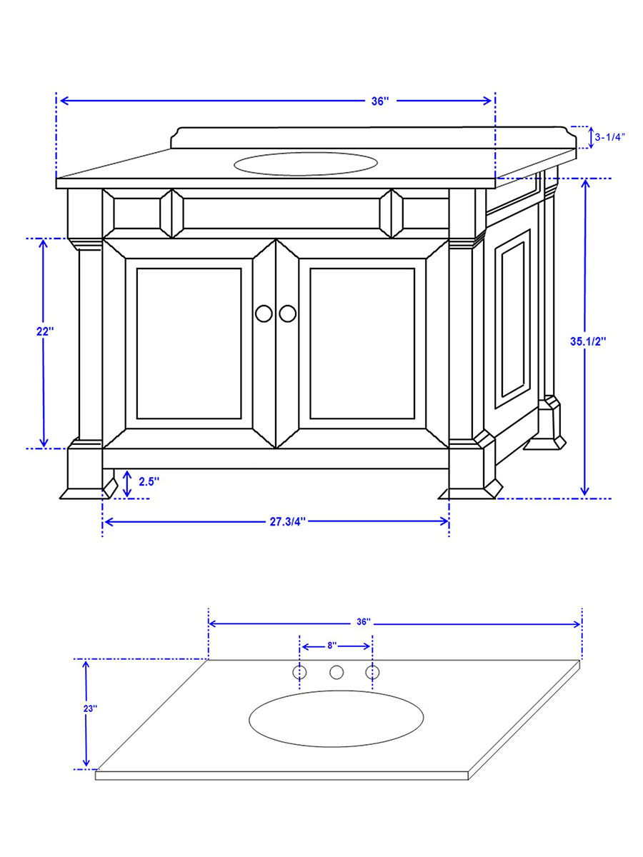 "36"" Andover Single Vanity - Dimensions"