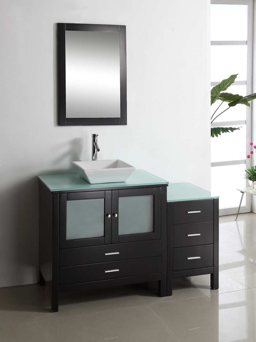 Shown with Tempered Glass Top and one optional side cabinet