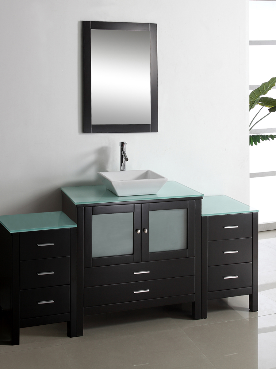 Shown with Tempered Glass Top and 2 optional side cabinets