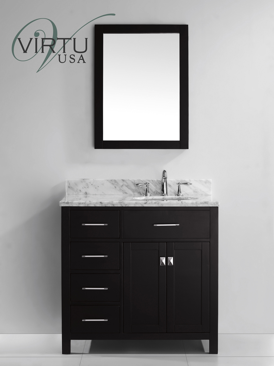 "36"" Caroline Single Vanity - shown in Left Sided Drawers"