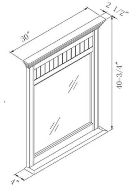 Optional Small Mirror - Dimensions