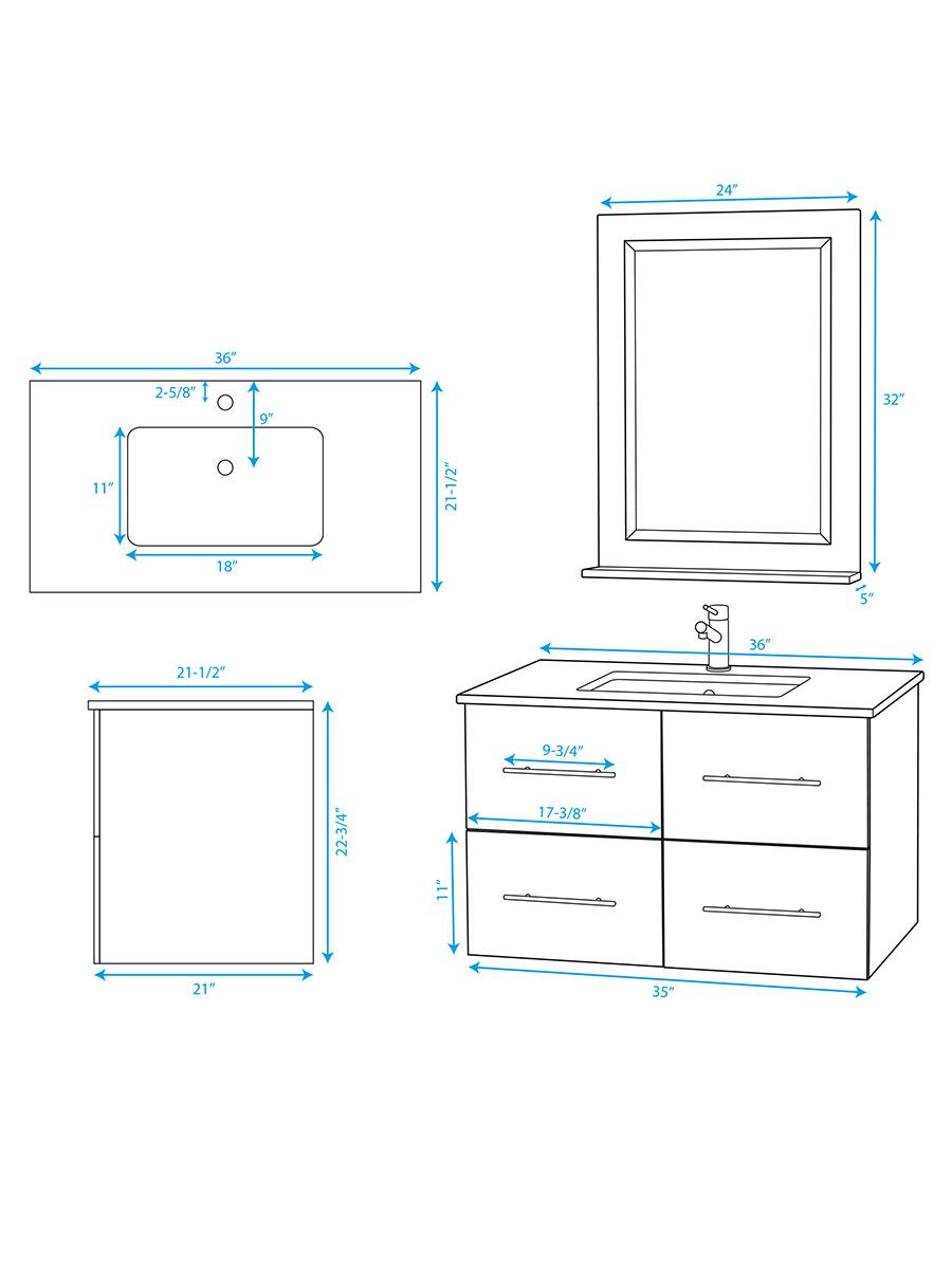 "36"" Zentra Single Vanity - Dimensions"