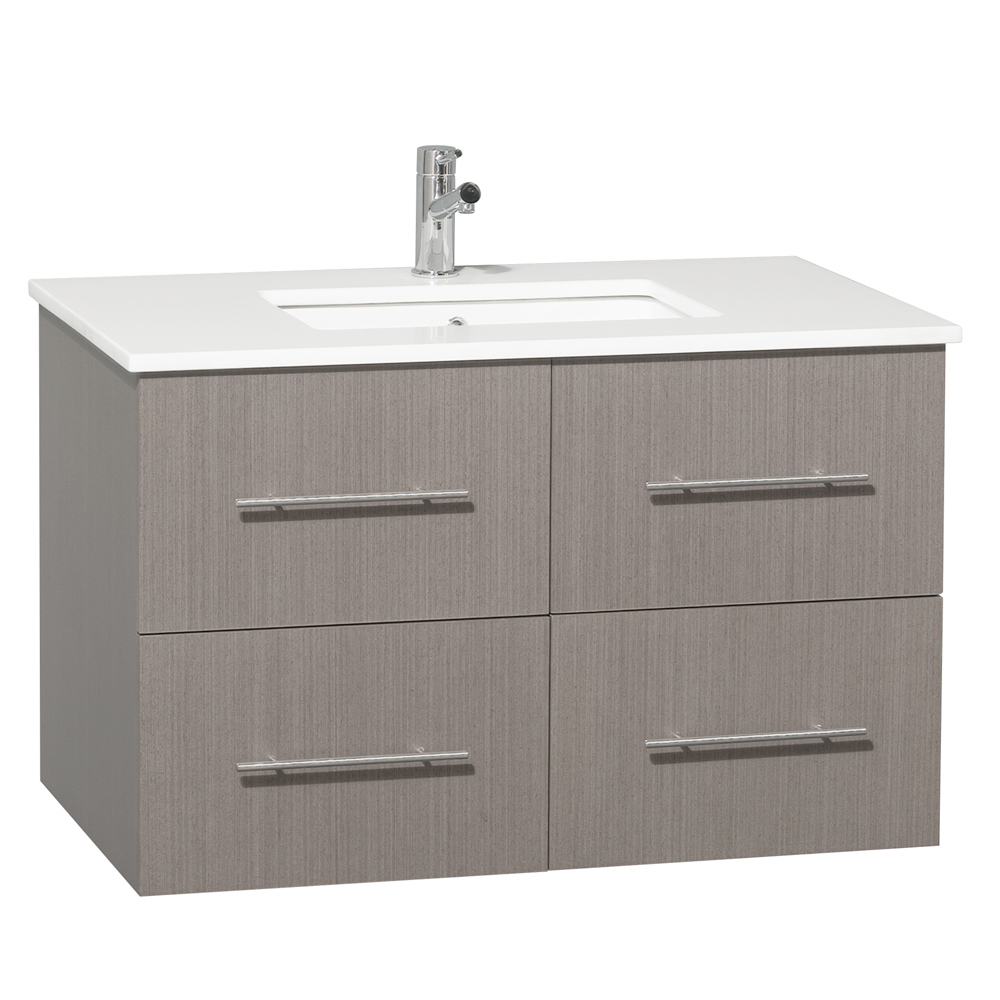 "36"" Zentra Single Vanity - Shown With White Artificial Stone Top"