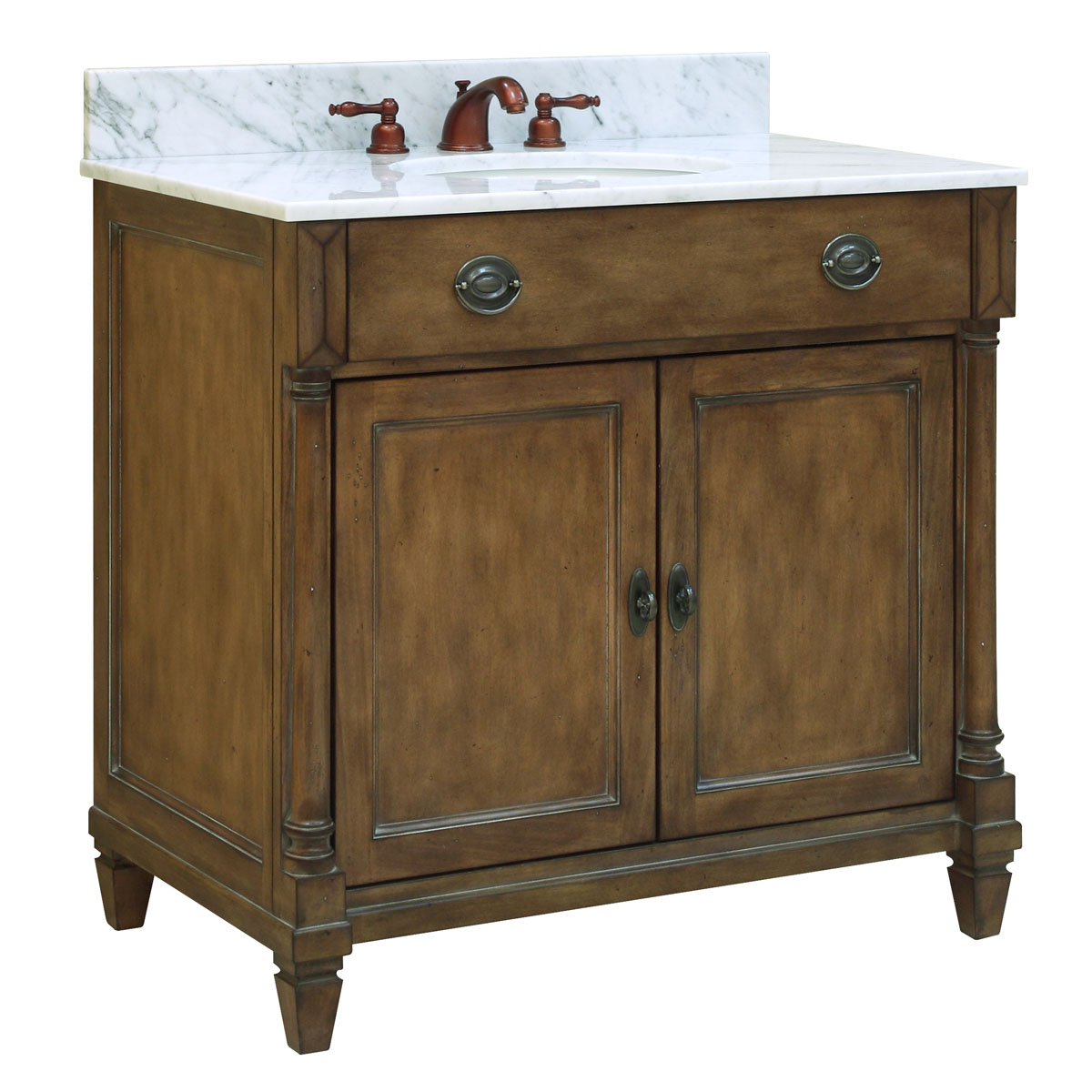 "36"" Regency Place Single Vanity - Shown with optional Carrera White marble top"