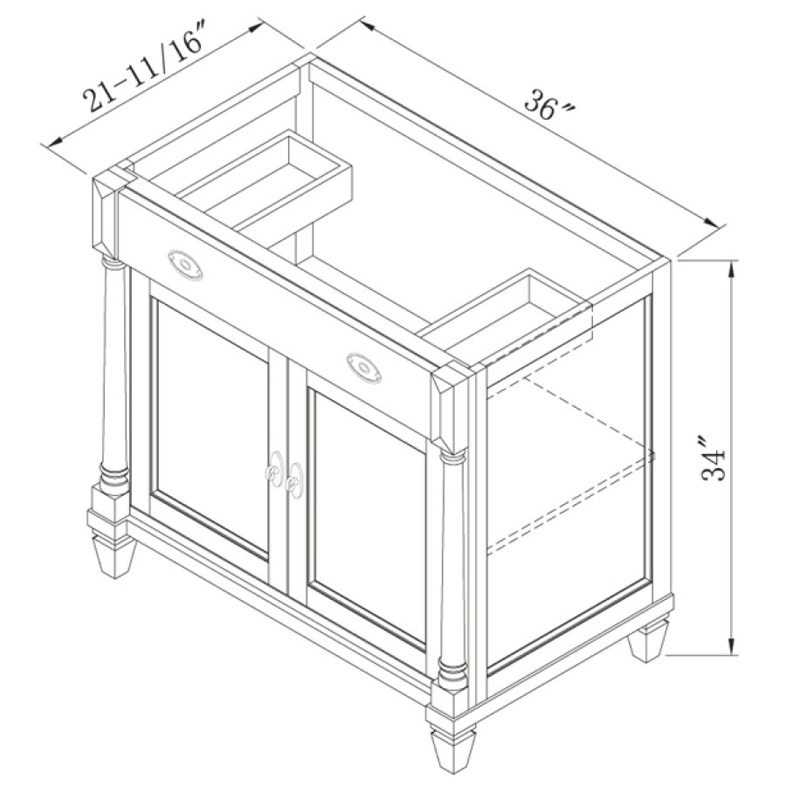"36"" Regency Place Single Vanity - Dimensions"
