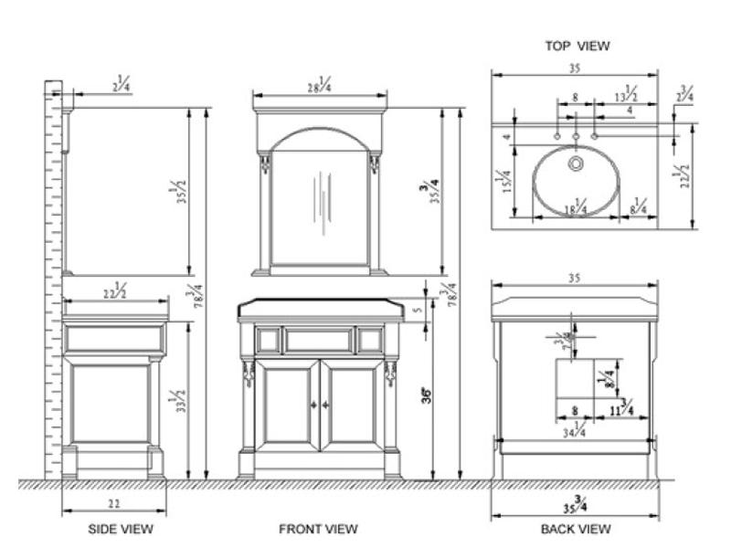 """36"""" Huntshire Single Vanity - Dimensions"""