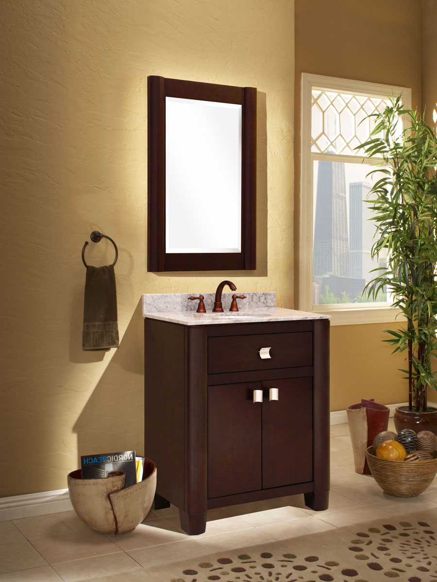 "36"" Portafino Single Vanity - shown with optional carrera white marble top and mirror"