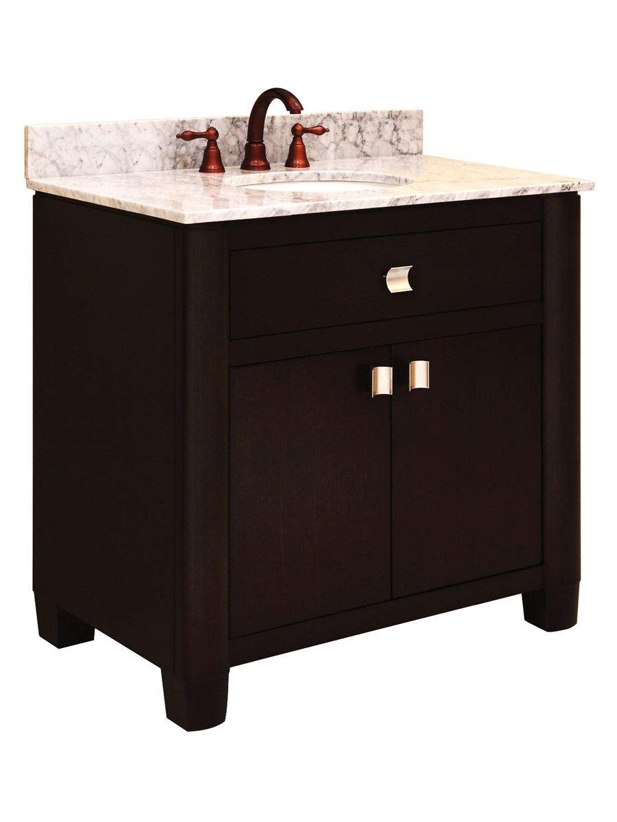 "36"" Portafino Single Vanity - shown with optional Carrera White marble top"