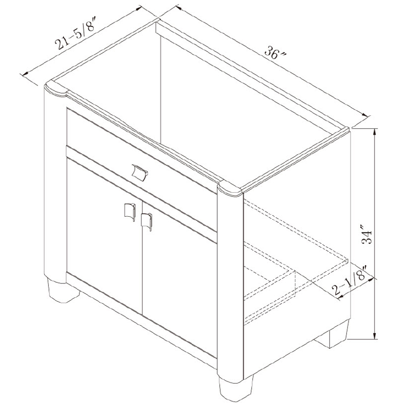 "36"" Portafino Single Vanity - Dimensions"