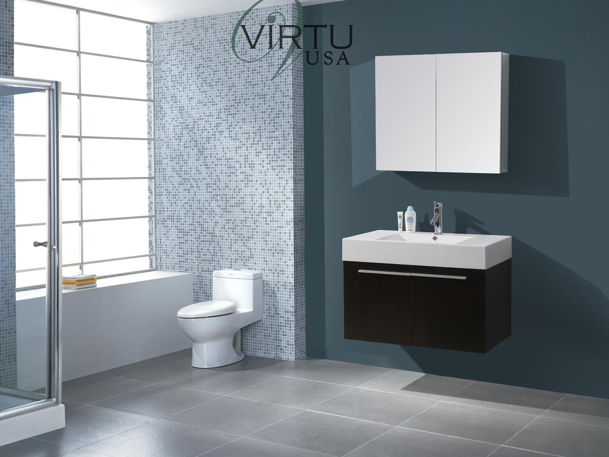 """35.5"""" Midori Single Bath Vanity in Wenge"""