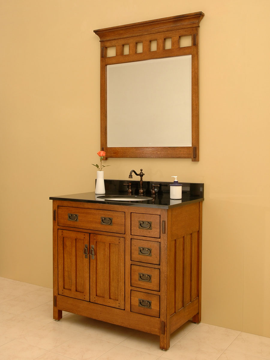 "36"" American Craftsman Single Bath Vanity - shown with optional mirror"
