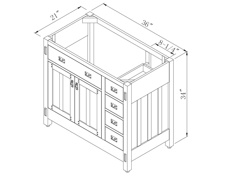 "36"" American Craftsman Single Bath Vanity - Dimensions"