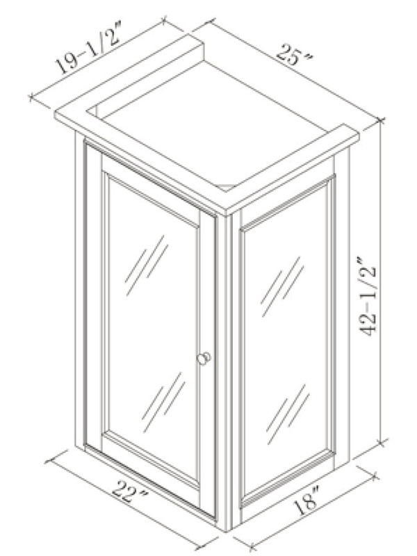 Optional Linen Cabinet (Hutch) - Dimensions