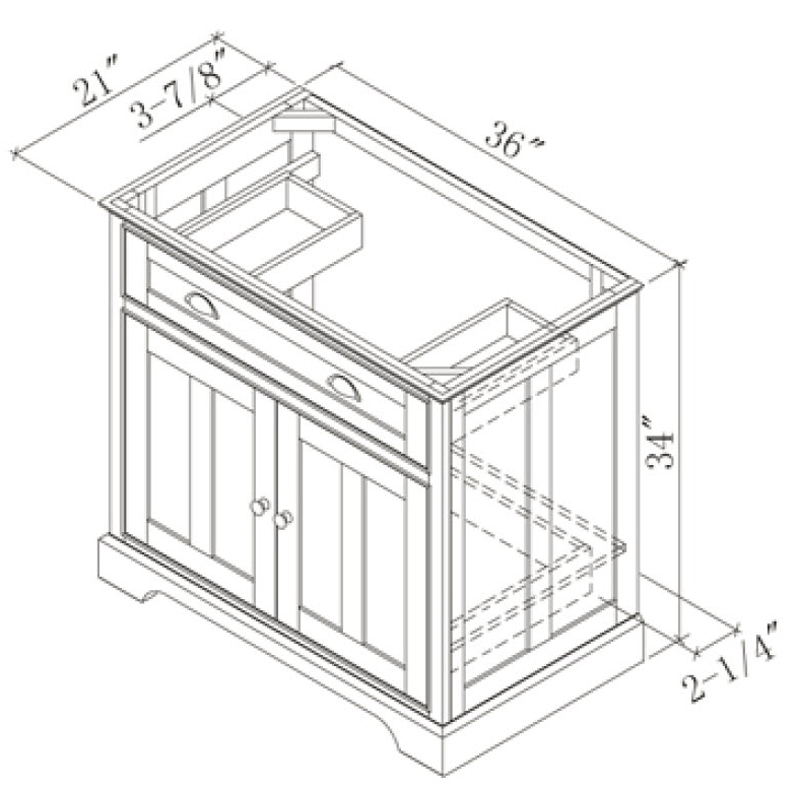 "36"" Somerset Single Vanity - Dimensions"
