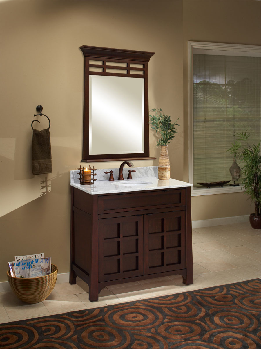 "36"" Parkdale Single Vanity - shown with optional Carrera White Marble top and mirror"