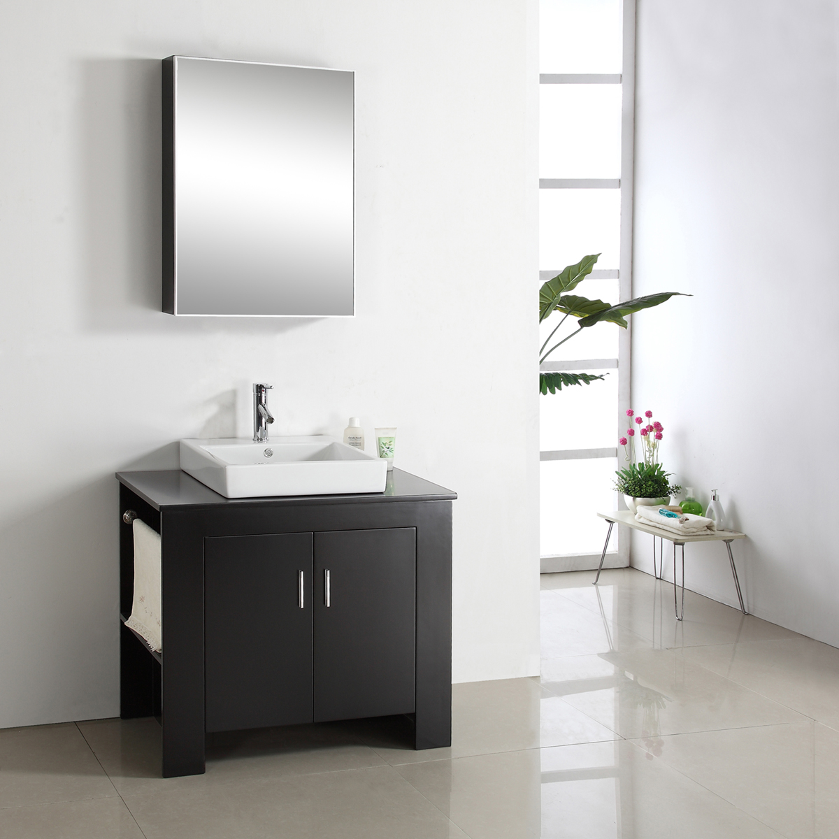 "36.25"" Tavian Single Vanity - with Left-Sided Towel Rack"