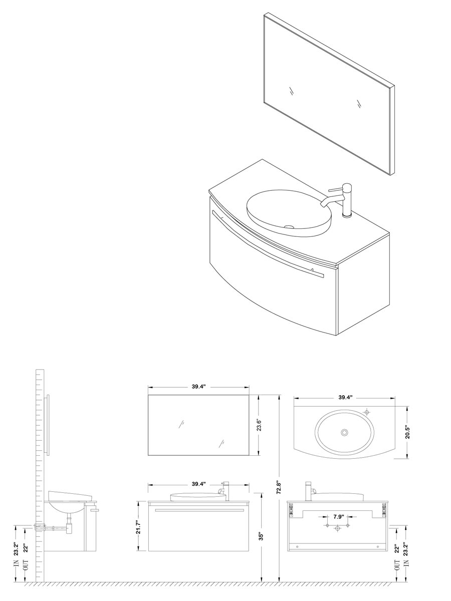 "39.5"" Anabelle Single Bath Vanity - Dimensions"