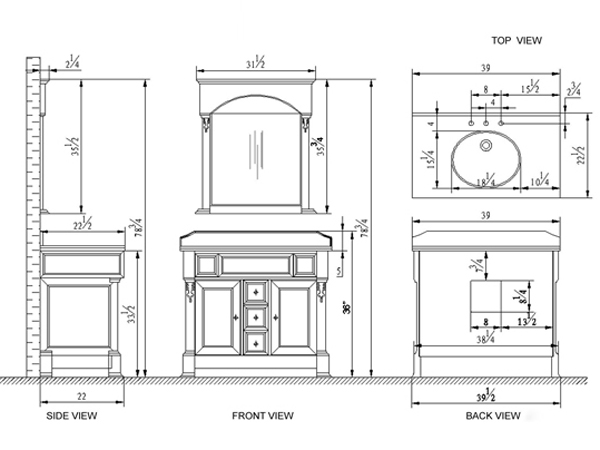"39.5"" Huntshire Single Vanity - Dimensions"