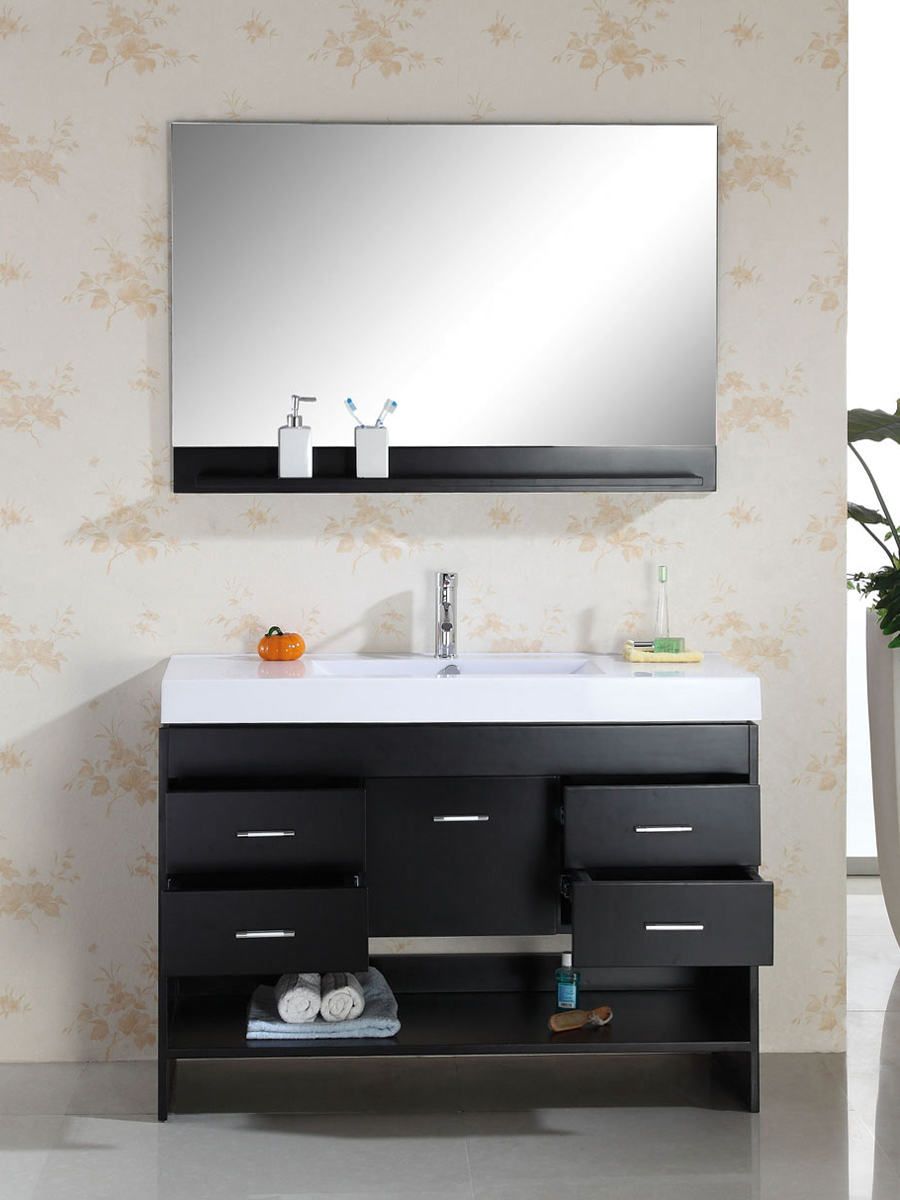 Features a towel shelf and 4 drawers