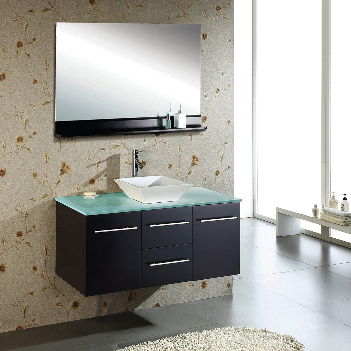 "47.25"" Marsala Single Vanity - with Tempered Glass Top"