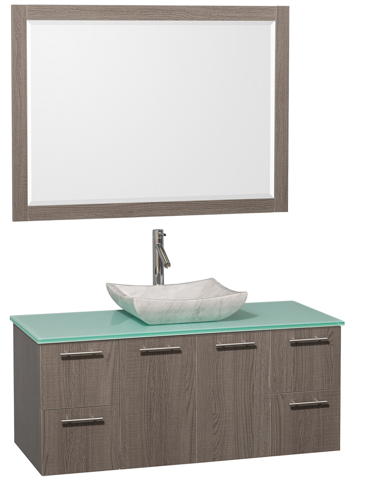 Green Glass Top - Shown with Carrera White Marble Sink