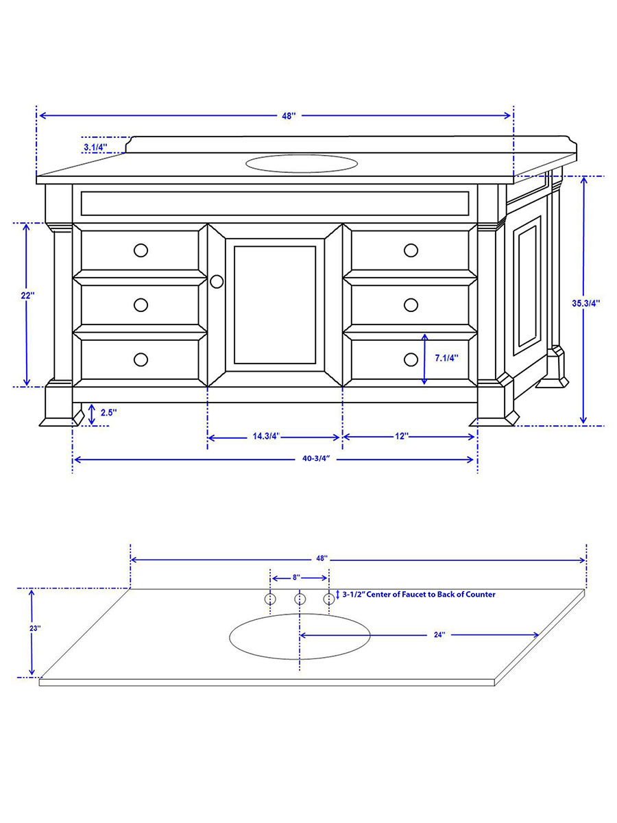 "48"" Andover Single Vanity - Dimensions"