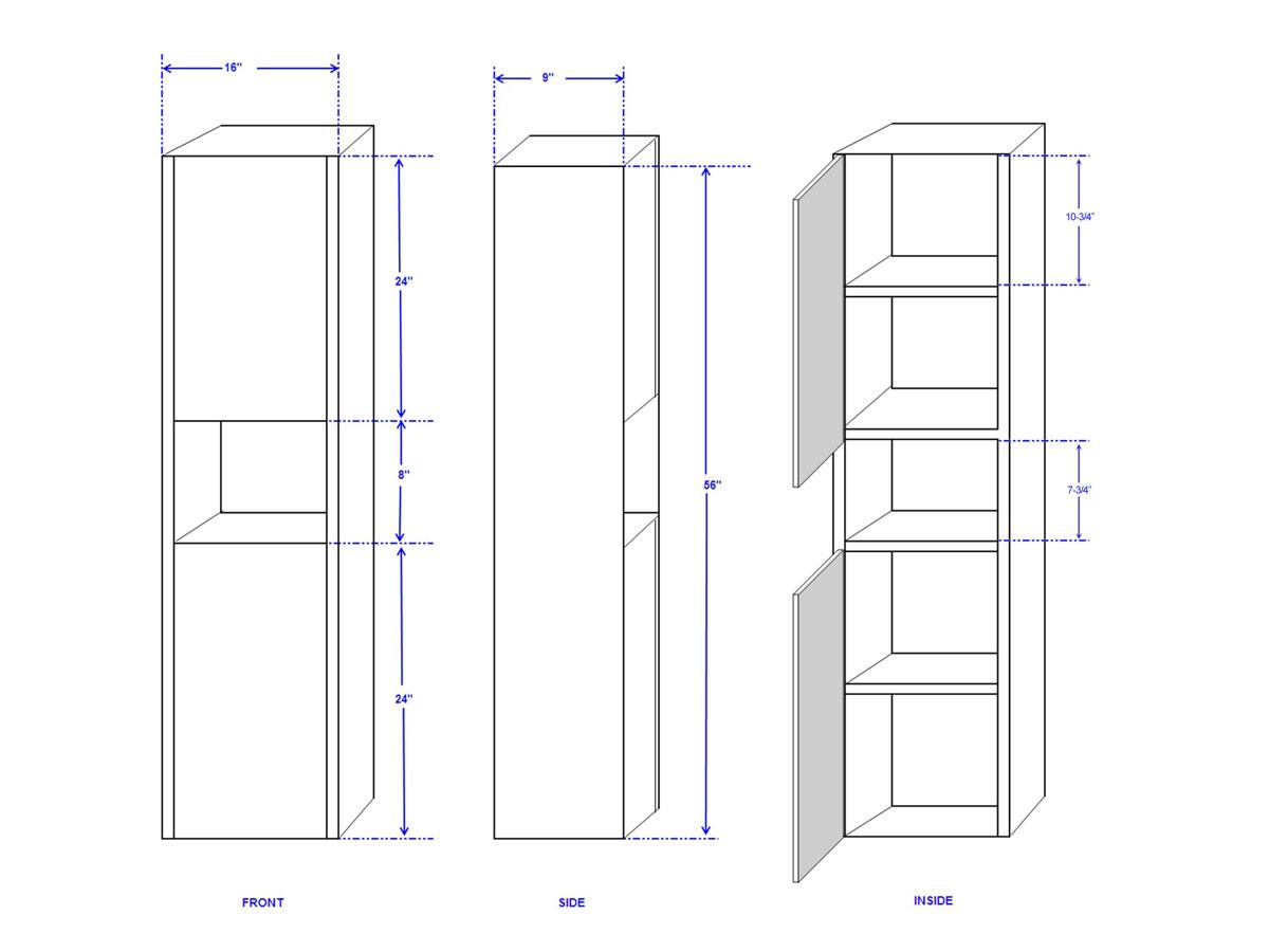 Sarah Storage Cabinet - Dimensions