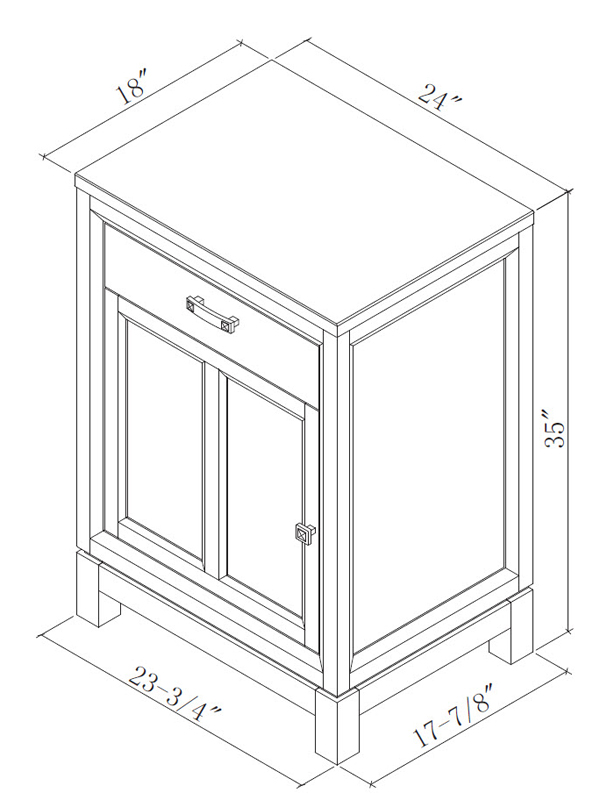 Optional Linen Cabinet (Base) - Dimensions