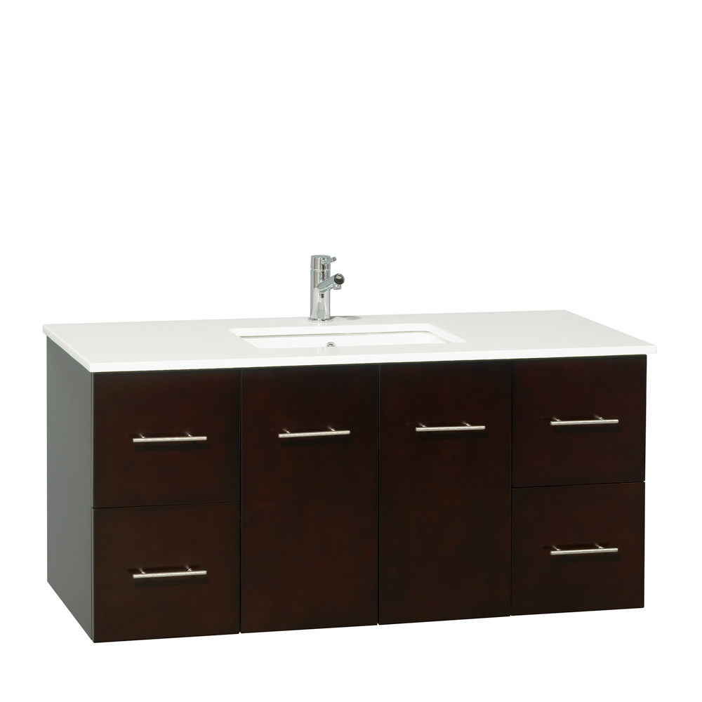 "48"" Zentra Single Vanity - Shown With White Artificial Stone Top"